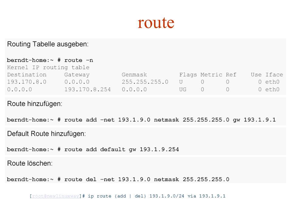 route Galvenās route komandas ir maršutu pielikšana un noņemšana. Jaunajam ip funkcionalitāte ir analoģiska.