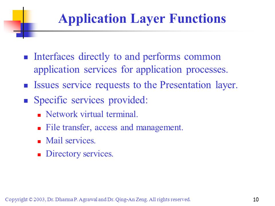 Application Layer Functions