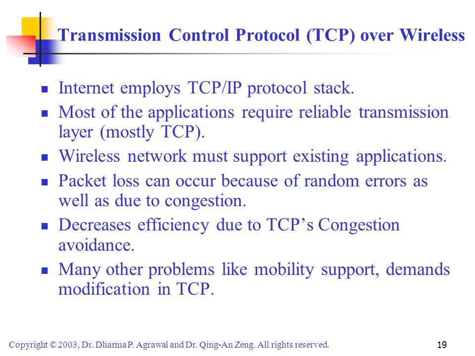 Transmission Control Protocol (TCP) over Wireless
