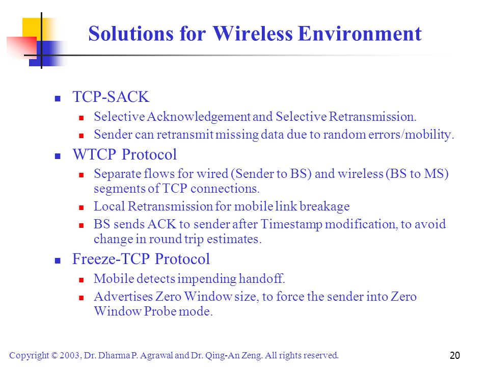 Solutions for Wireless Environment