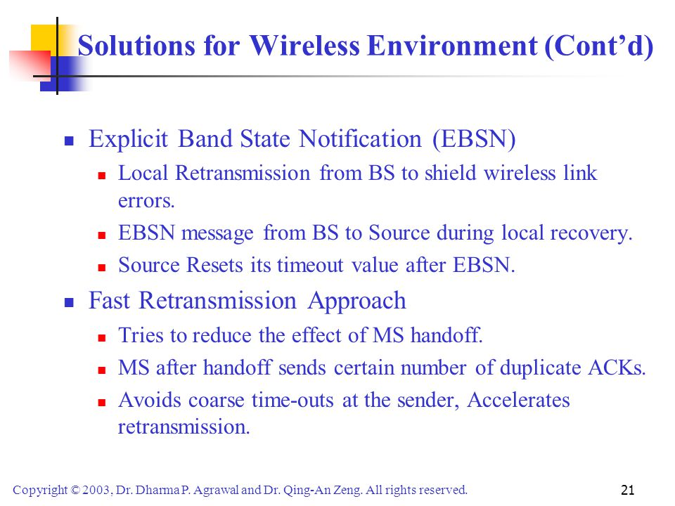 Solutions for Wireless Environment (Cont'd)