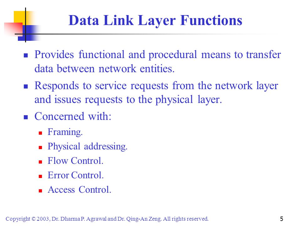 Data Link Layer Functions
