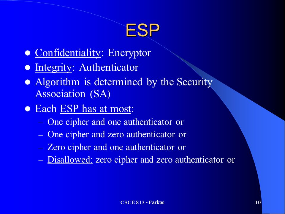 ESP Confidentiality: Encryptor Integrity: Authenticator