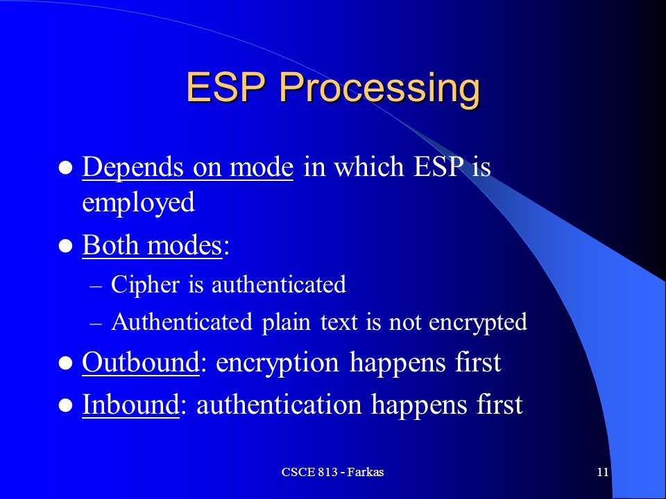 ESP Processing Depends on mode in which ESP is employed Both modes: