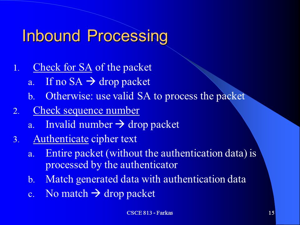 Inbound Processing Check for SA of the packet If no SA  drop packet