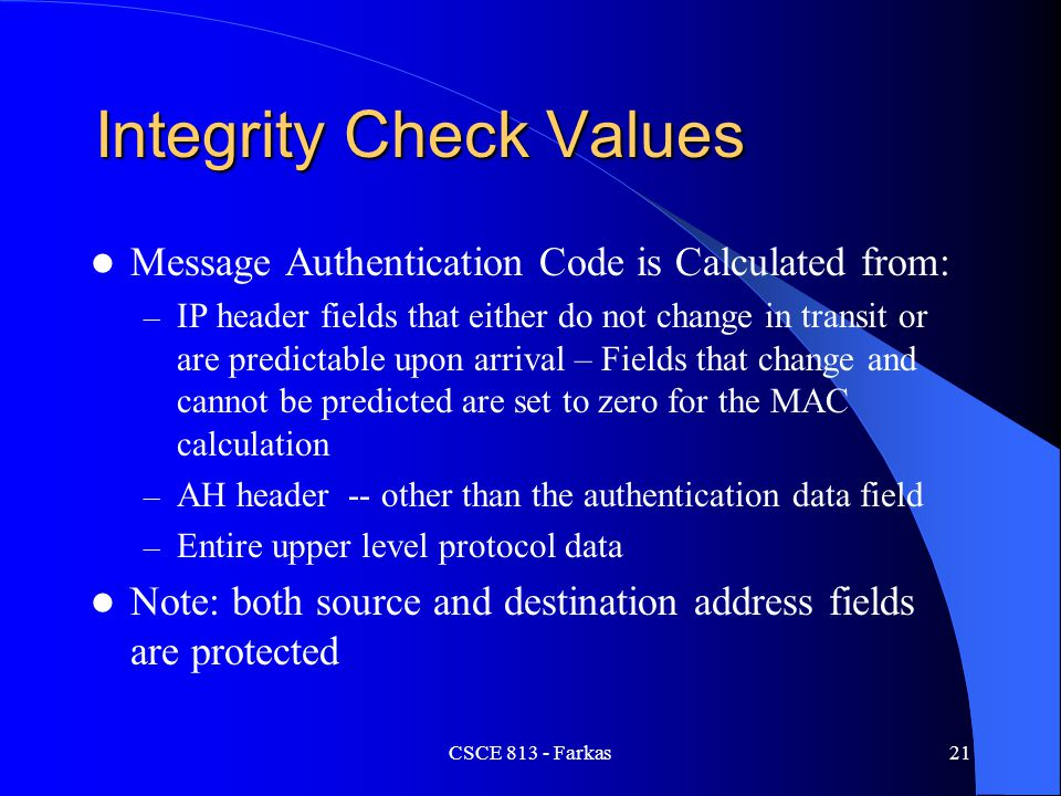 Integrity Check Values