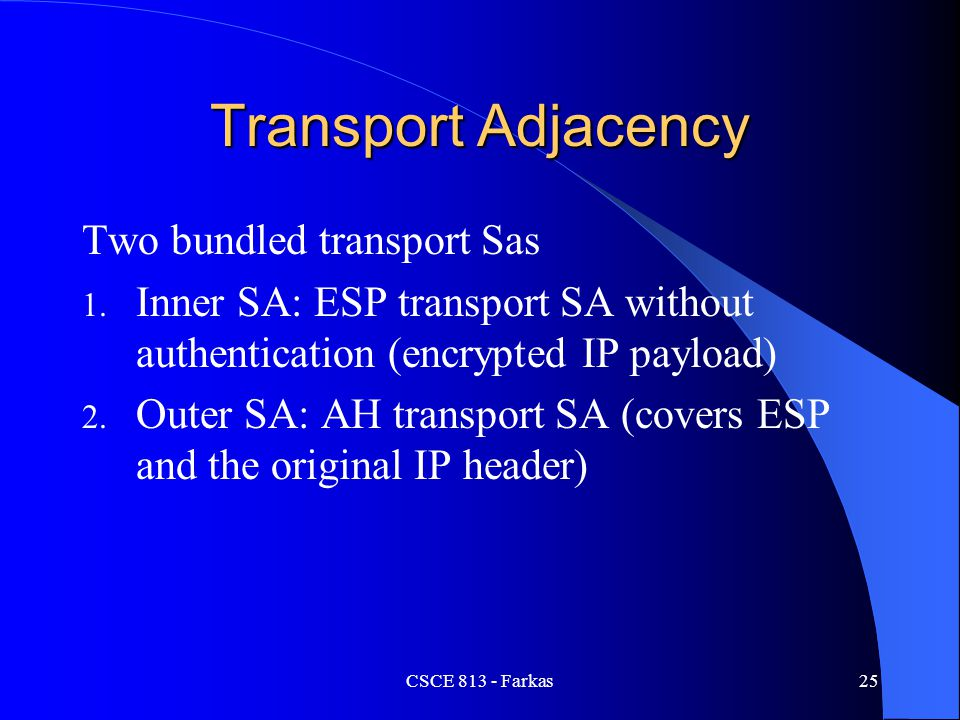 Transport Adjacency Two bundled transport Sas