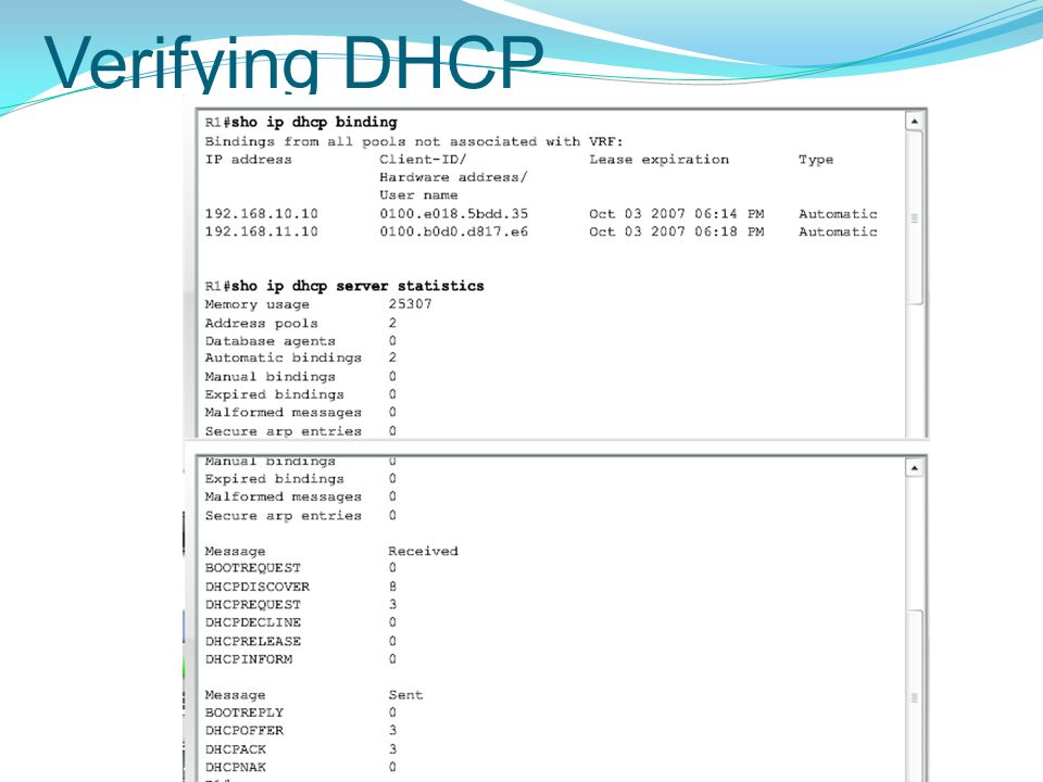 Verifying DHCP