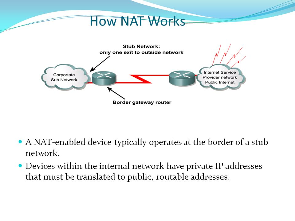 How NAT Works A NAT-enabled device typically operates at the border of a stub network.