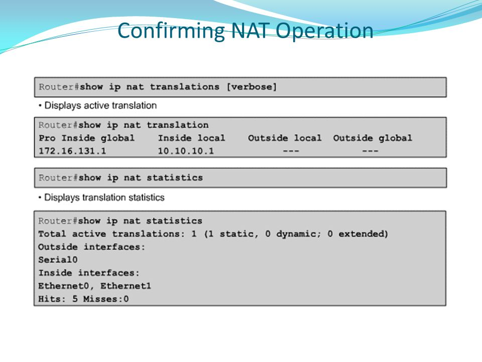 Confirming NAT Operation