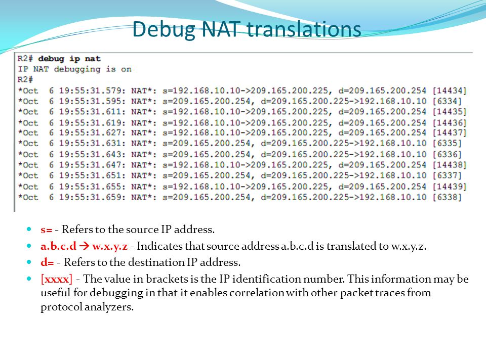 Debug NAT translations