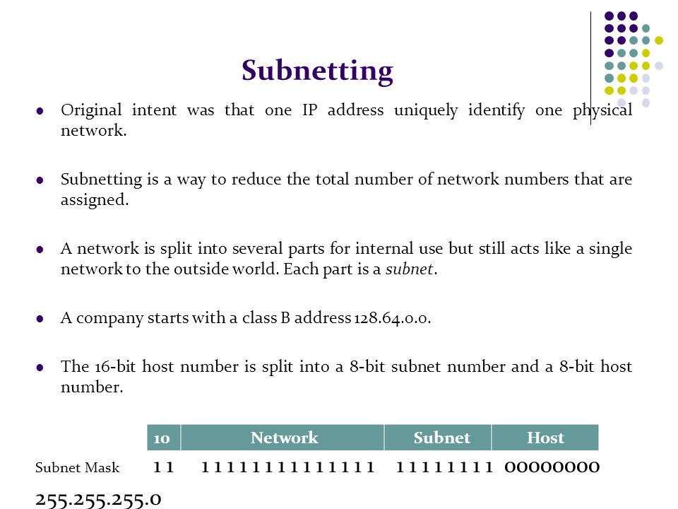 Subnetting Original intent was that one IP address uniquely identify one physical network.