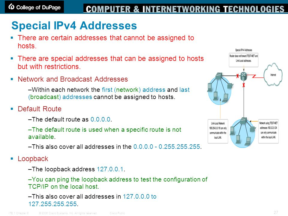 Special IPv4 Addresses There are certain addresses that cannot be assigned to hosts.