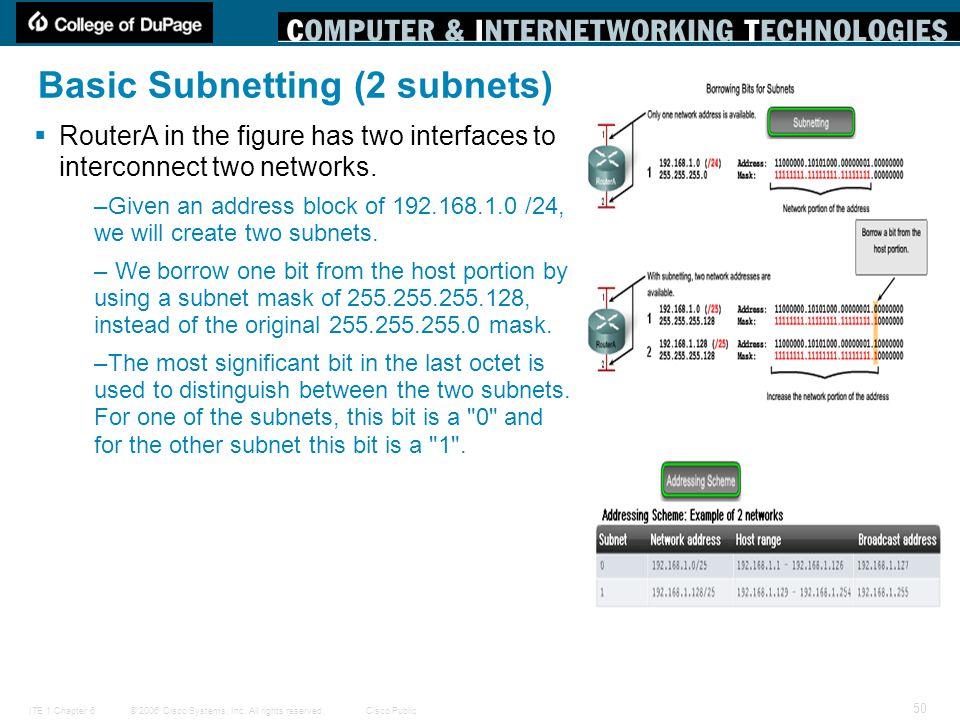 Basic Subnetting (2 subnets)
