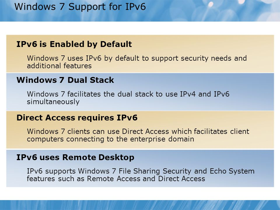 Windows 7 Support for IPv6