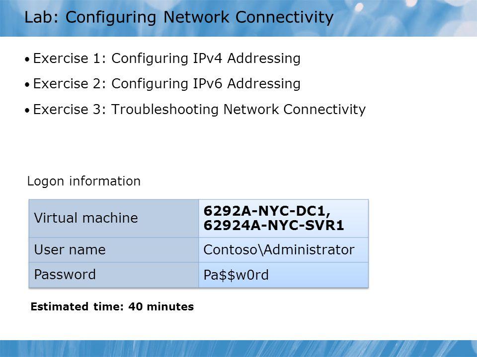 Lab: Configuring Network Connectivity