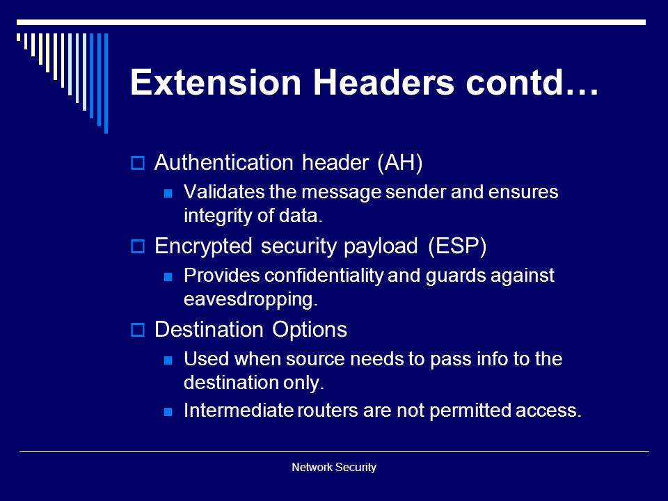 Extension Headers contd…