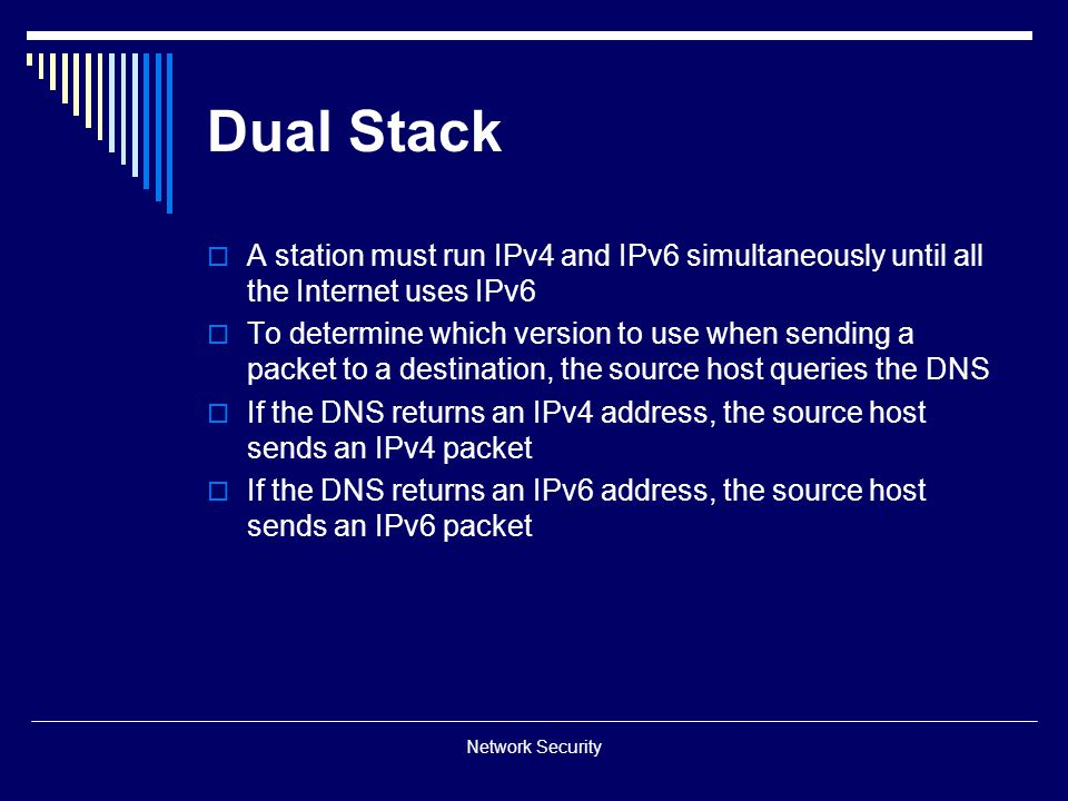 Dual Stack A station must run IPv4 and IPv6 simultaneously until all the Internet uses IPv6.