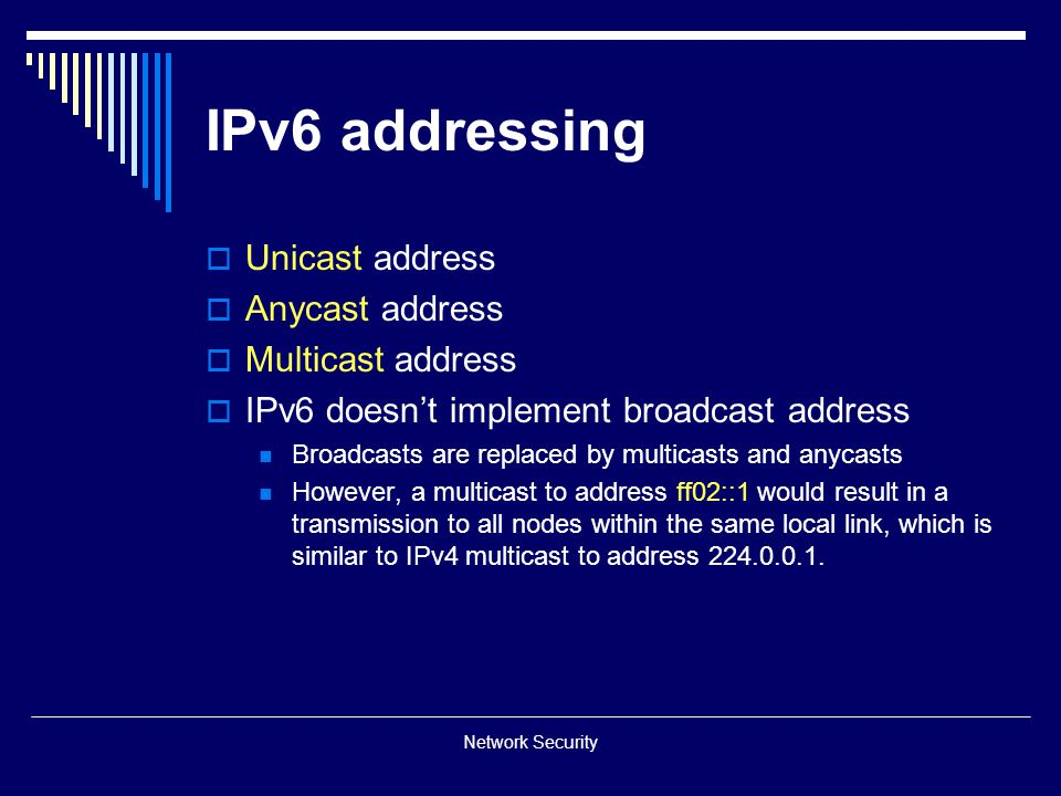 IPv6 addressing Unicast address Anycast address Multicast address