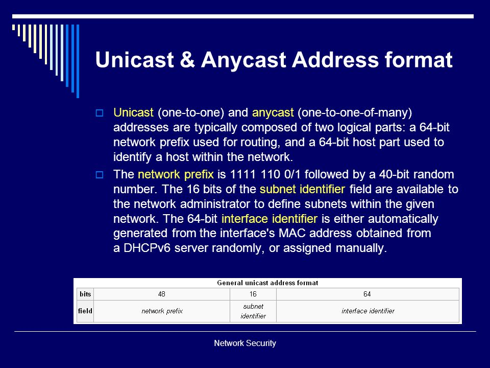 Unicast & Anycast Address format