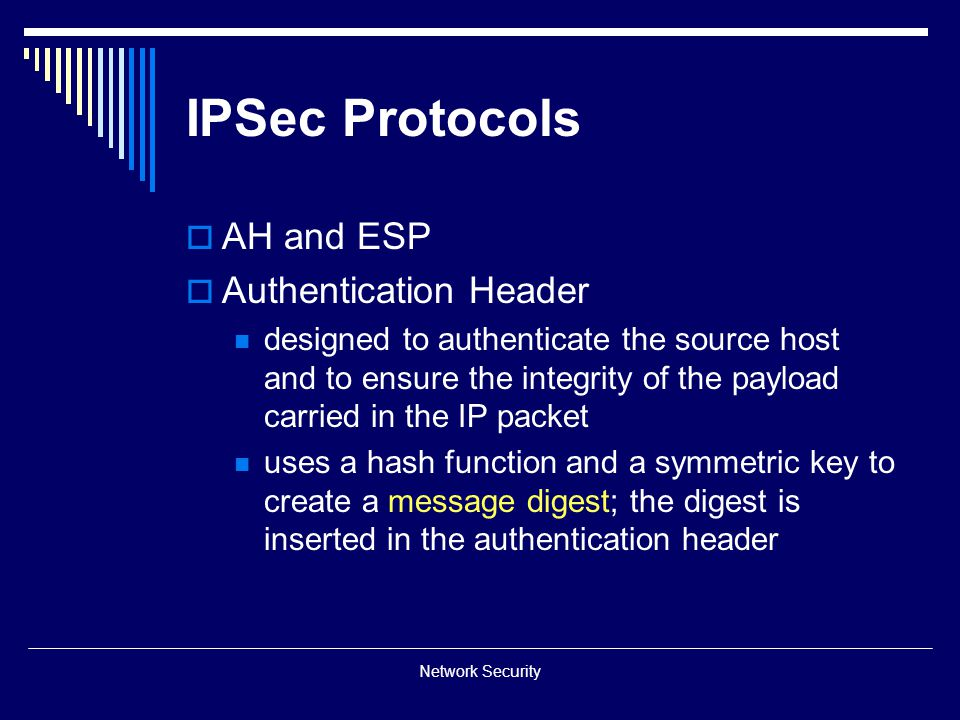 IPSec Protocols AH and ESP Authentication Header