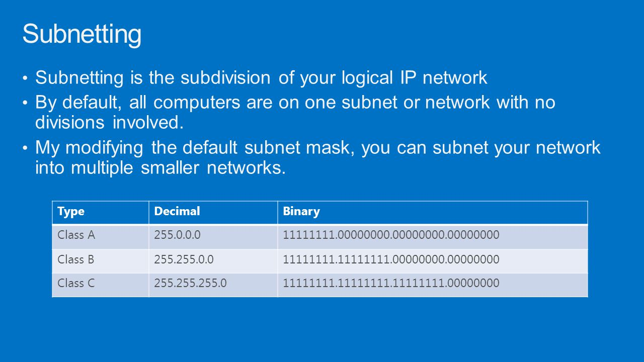 Subnetting Subnetting is the subdivision of your logical IP network