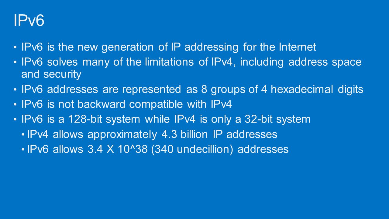 IPv6 IPv6 is the new generation of IP addressing for the Internet