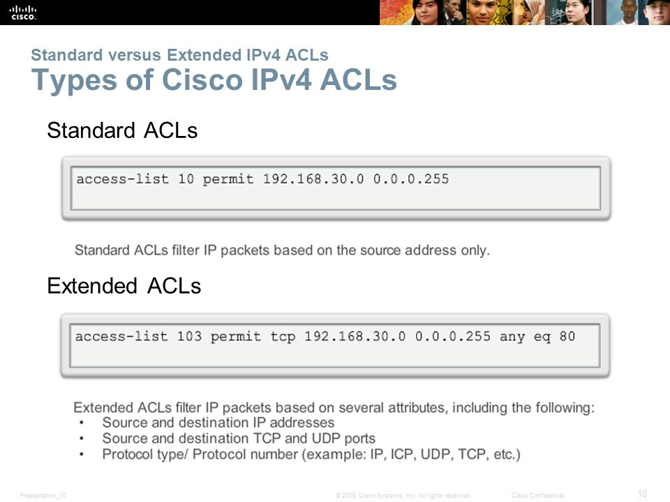 Standard versus Extended IPv4 ACLs Types of Cisco IPv4 ACLs