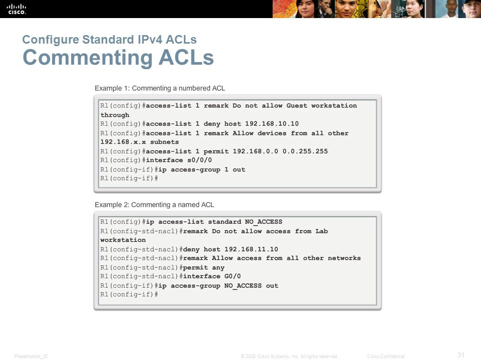 Configure Standard IPv4 ACLs Commenting ACLs