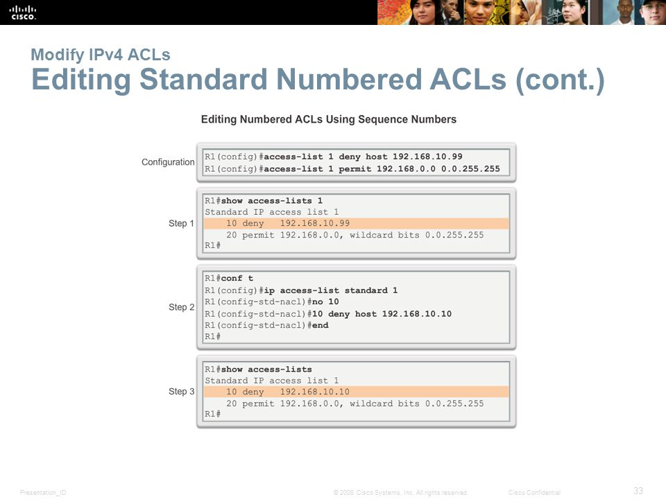 Modify IPv4 ACLs Editing Standard Numbered ACLs (cont.)