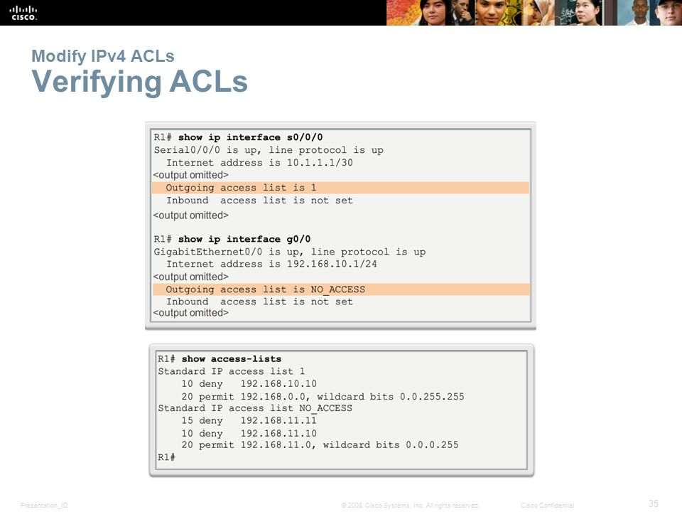 Modify IPv4 ACLs Verifying ACLs