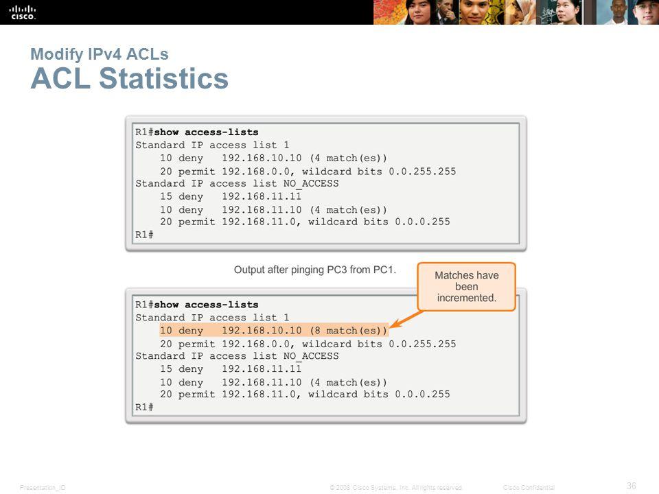 Modify IPv4 ACLs ACL Statistics