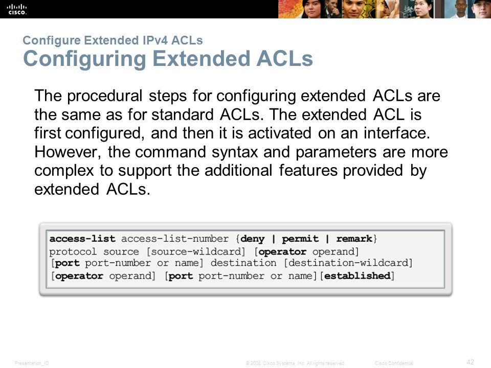 Configure Extended IPv4 ACLs Configuring Extended ACLs