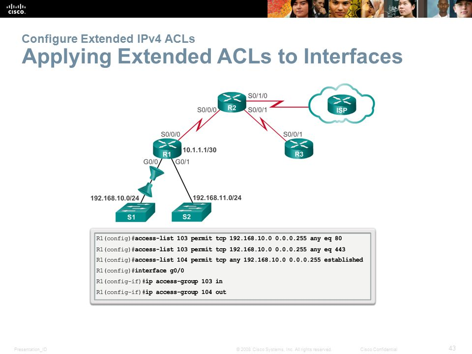 Configure Extended IPv4 ACLs Applying Extended ACLs to Interfaces