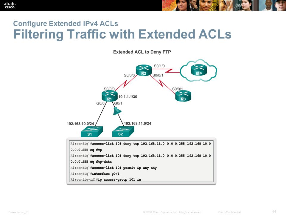 Configure Extended IPv4 ACLs Filtering Traffic with Extended ACLs