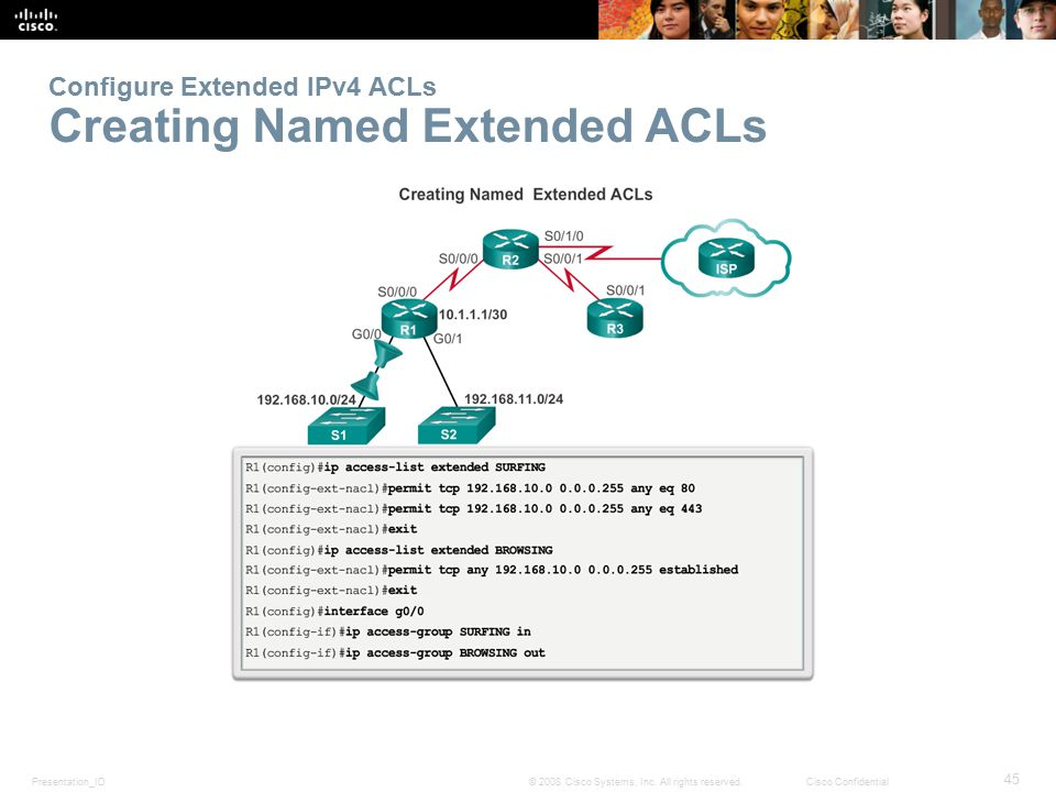 Configure Extended IPv4 ACLs Creating Named Extended ACLs