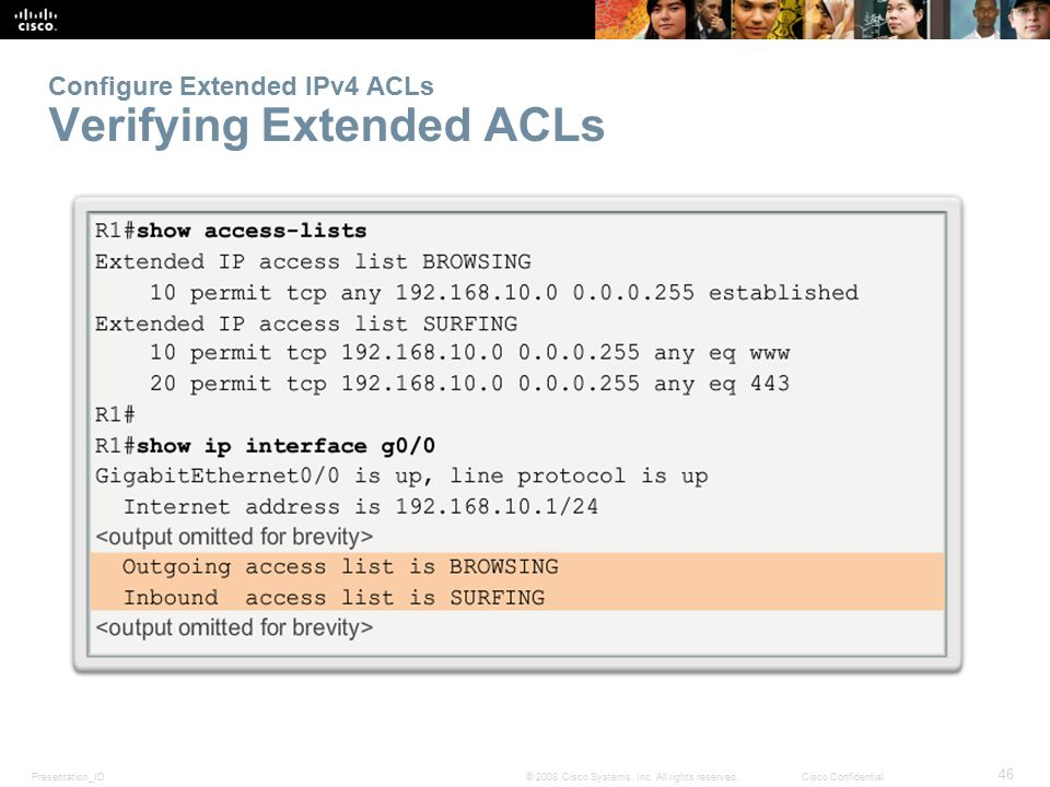 Configure Extended IPv4 ACLs Verifying Extended ACLs