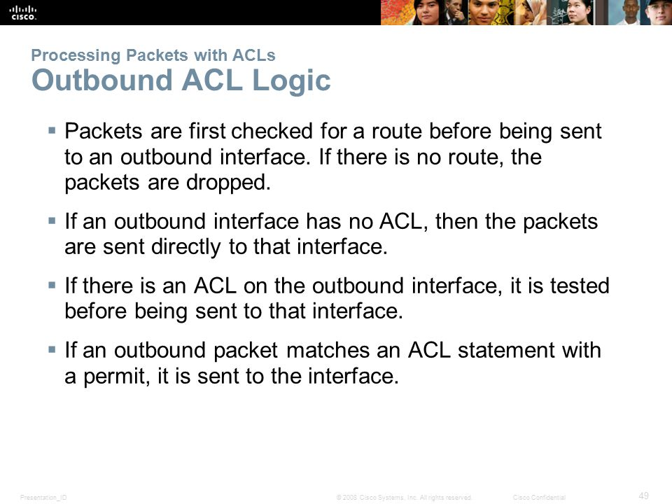 Processing Packets with ACLs Outbound ACL Logic