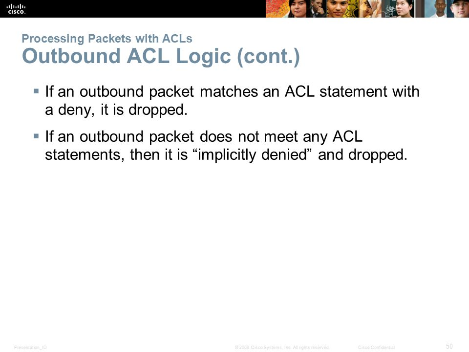 Processing Packets with ACLs Outbound ACL Logic (cont.)