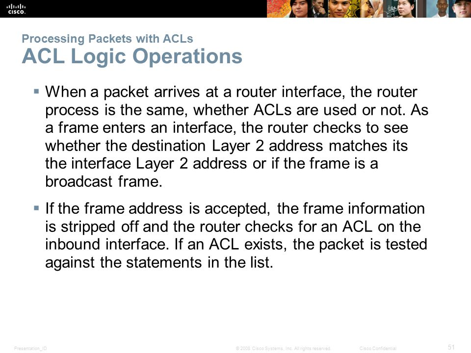 Processing Packets with ACLs ACL Logic Operations