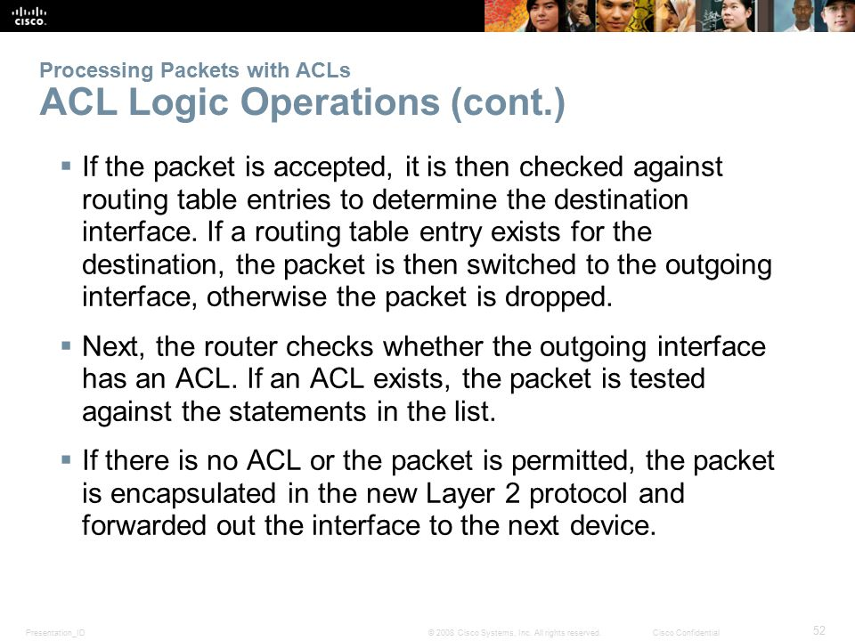 Processing Packets with ACLs ACL Logic Operations (cont.)