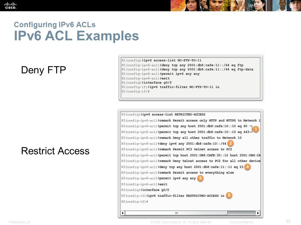 Configuring IPv6 ACLs IPv6 ACL Examples