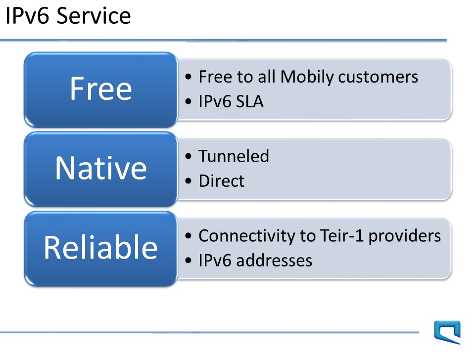 IPv6 Service Free Free to all Mobily customers IPv6 SLA Native