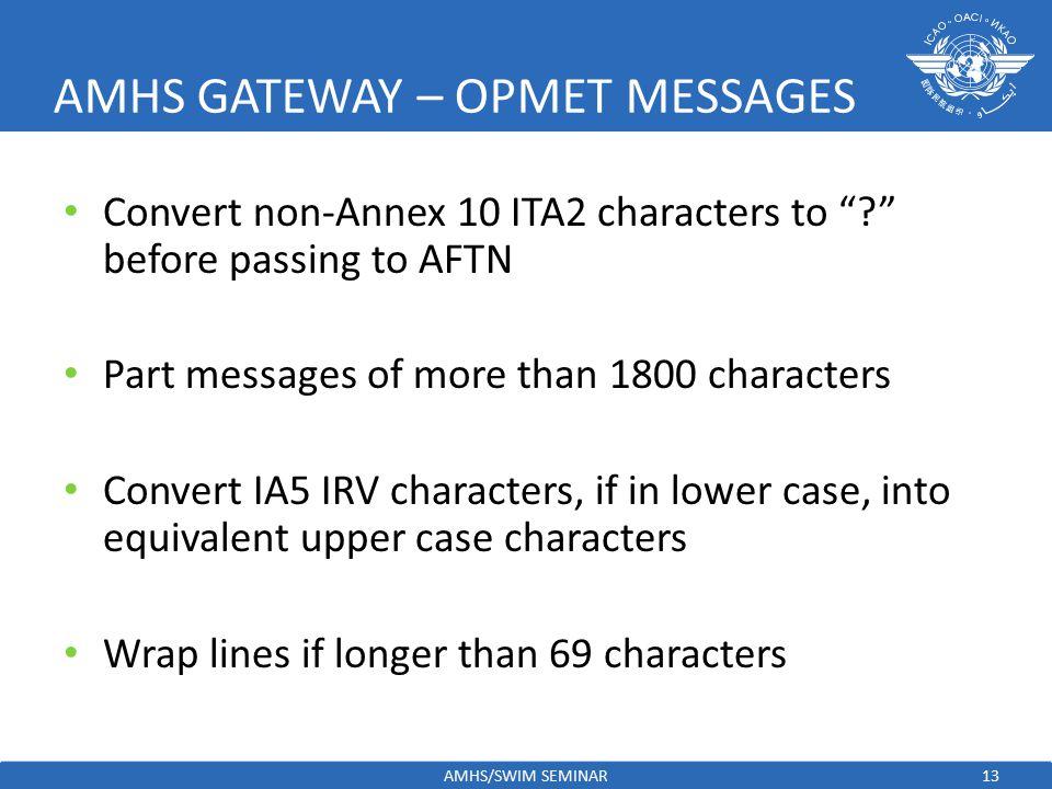 AMHS GATEWAY – OPMET MESSAGES
