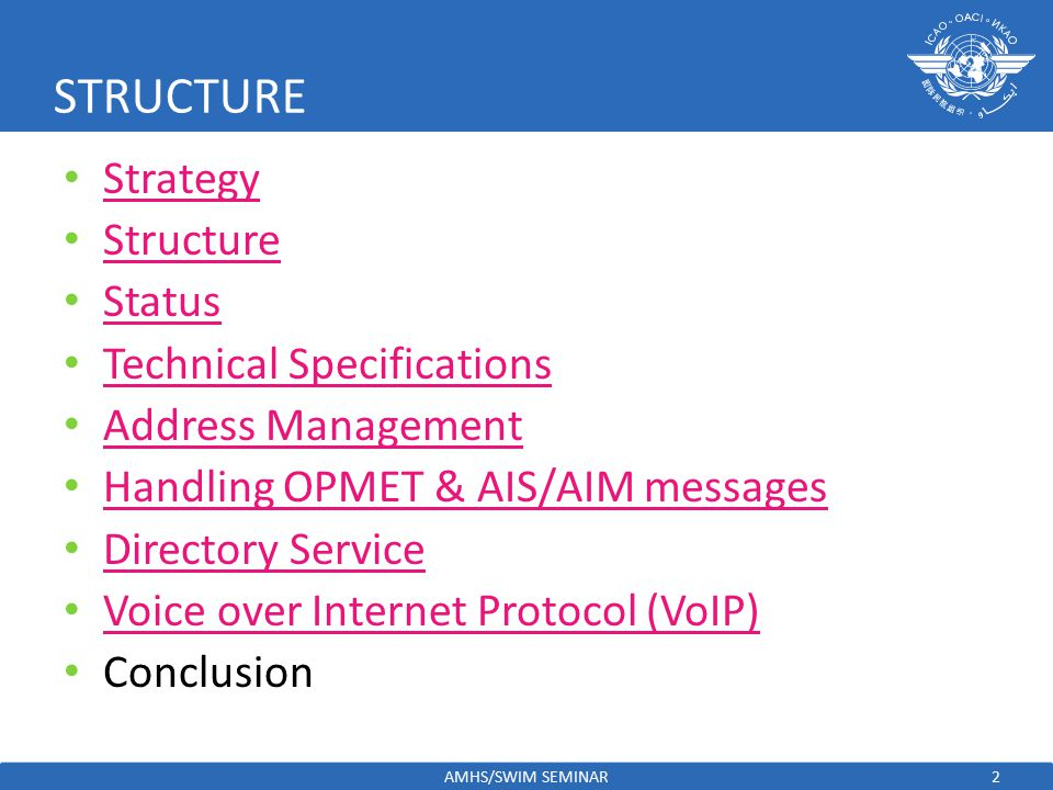 STRUCTURE Strategy Structure Status Technical Specifications