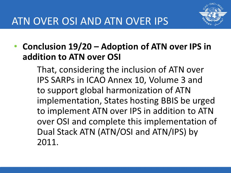 ATN OVER OSI AND ATN OVER IPS