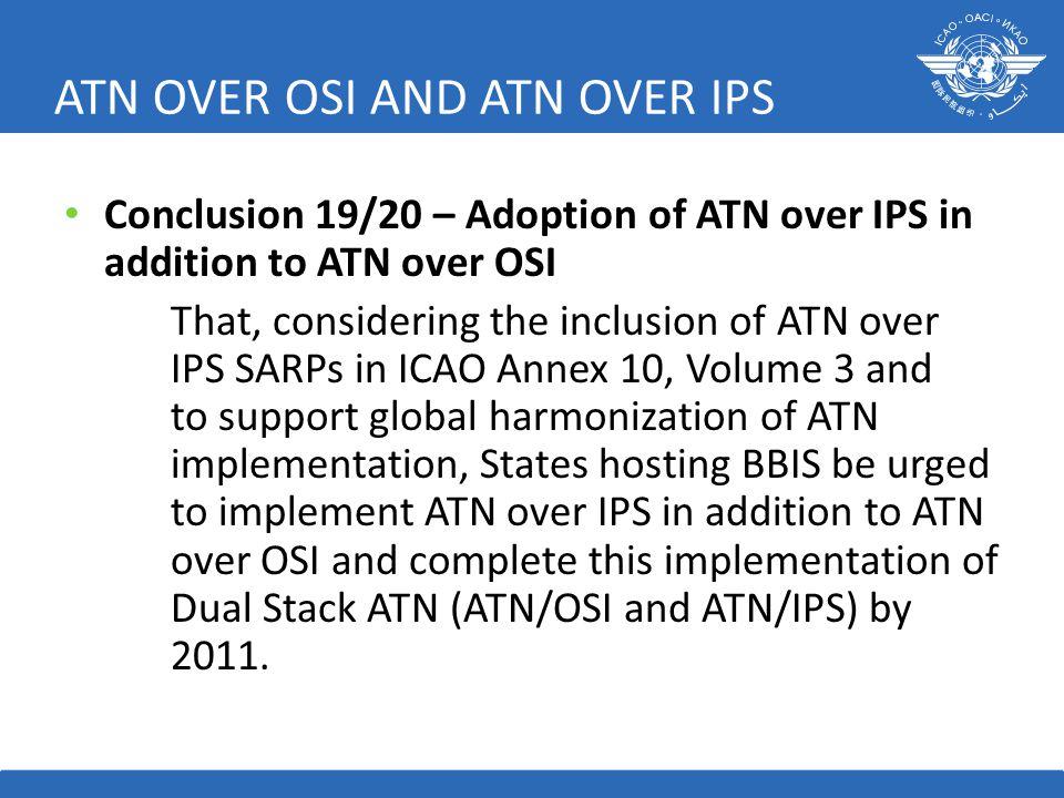 ATN OVER OSI AND ATN OVER IPS