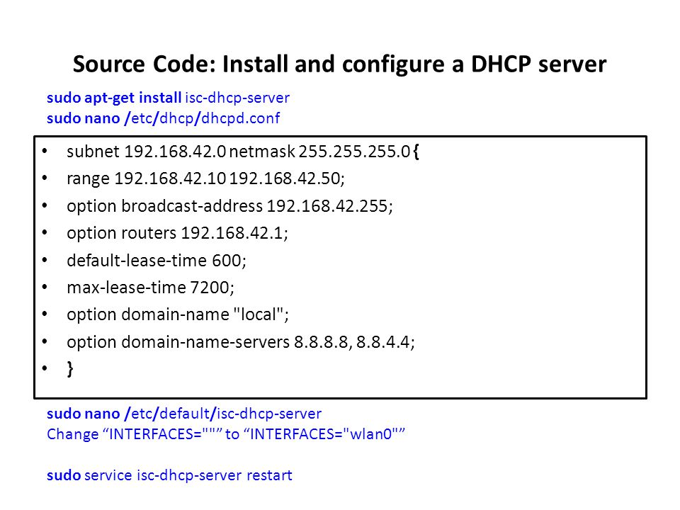 Source Code: Install and configure a DHCP server
