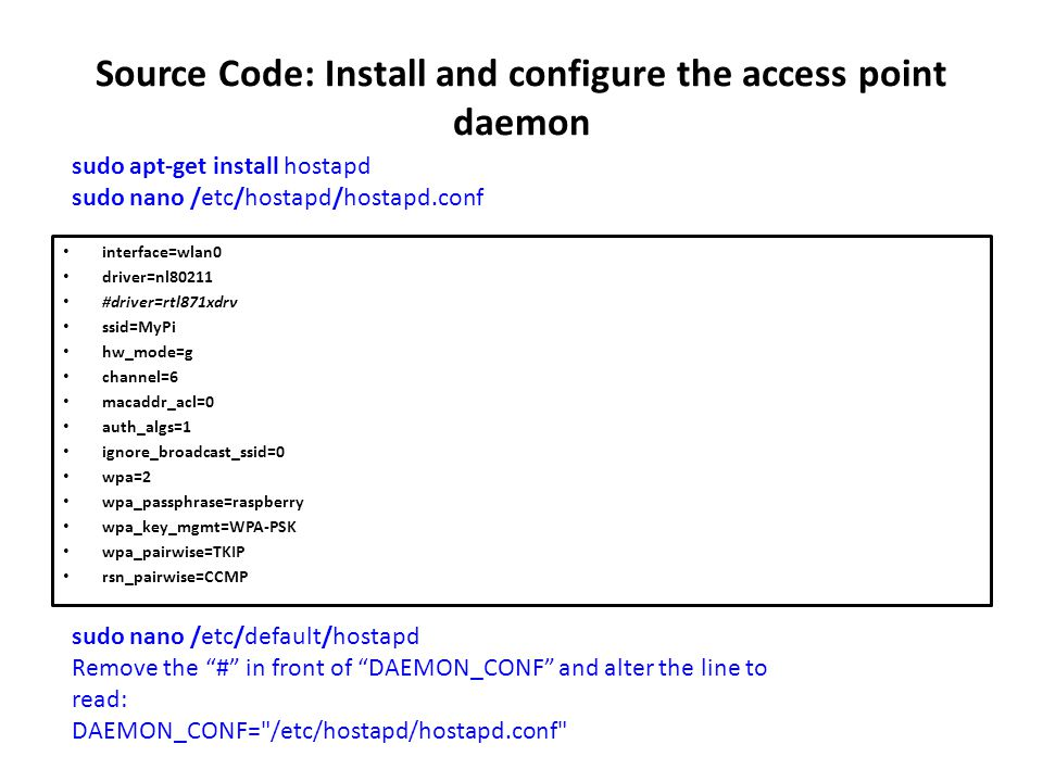 Source Code: Install and configure the access point daemon
