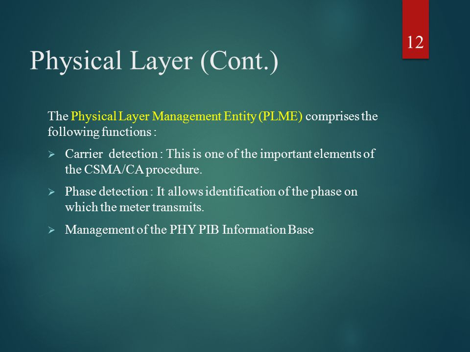 Physical Layer (Cont.) The Physical Layer Management Entity (PLME) comprises the following functions :